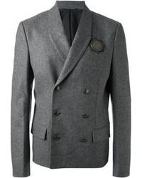 Grey Wool Double Breasted Blazer