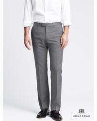 Banana Republic Br Monogram Gray Pinpoint Italian Wool Suit Trouser