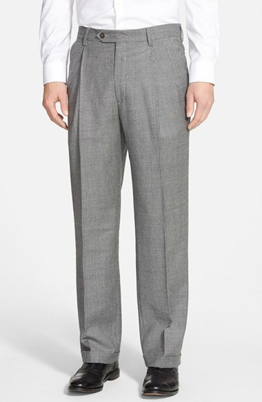 Berle Pleated Houndstooth Wool Trousers