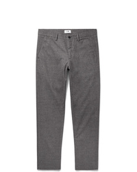 Nn07 Grey Karl Tapered Mlange Cotton Blend Trousers