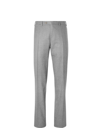 Canali Light Grey Slim Fit Super 120s Wool Suit Trousers