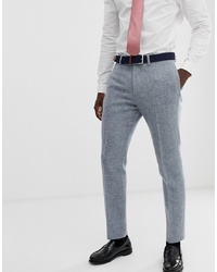 ASOS DESIGN Slim Suit Trousers In 100% Wool Harris Tweed In Grey