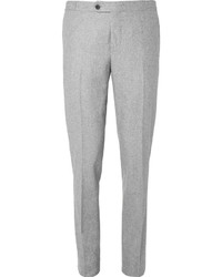 Thom Sweeney Grey Slim Fit Wool Flannel Trousers
