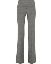 Demitria prince of wales checked stretch wool flared pants gray medium 846000
