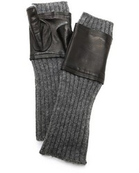 Carolina Amato Fingerless Knit Leather Gloves