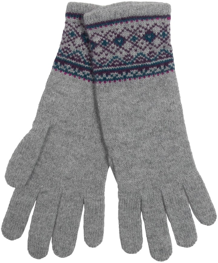 Johnstons of Elgin Folk Fair Isle Gloves Merino Wool Angora ...