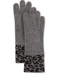 Portolano Leopard Print Soft Knit Gloves Grayblack