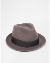 Asos Brand Fedora Hat In Grey Felt