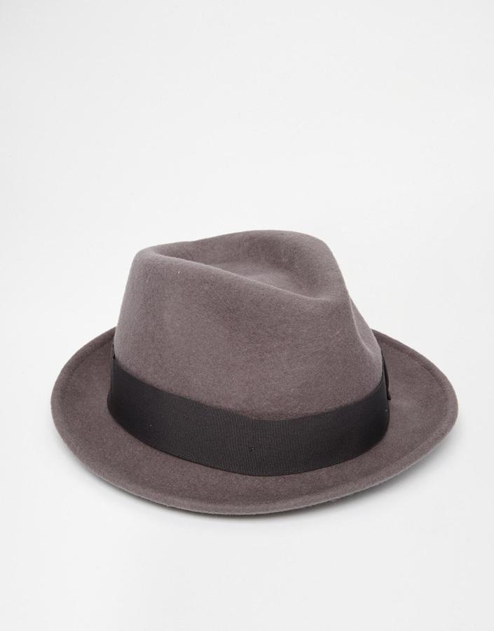 199f96abd07b5 ... Wool Hats Asos Brand Fedora Hat In Grey Felt ...