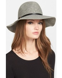 Hinge Faux Leather Trim Wool Felt Panama Hat