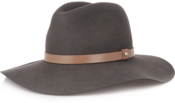 ... Grey Wool Hats Rag and Bone Rag Bone Rag Bone Leather Trimmed Wool Felt  Fedora 8c136c54be0