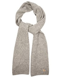 MAISON KITSUNÉ Ribbed Knit Wool And Camel Blend Scarf