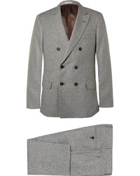 Brunello Cucinelli Grey Slim Fit Houndstooth Linen Wool And Silk Blend Suit