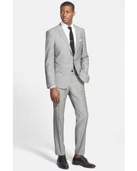 BOSS Hugegenius Trim Fit Solid Wool Suit