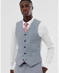 ASOS DESIGN Slim Suit Waistcoat In 100% Wool Harris Tweed In Grey