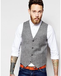 Asos Slim Vest In Tweed