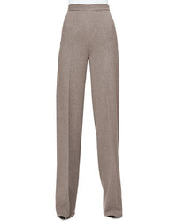 Grey Wool Wide Leg Pants