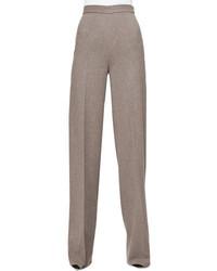 Grey Wool Wide Leg Pants