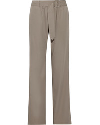 Tomas Maier Belted Wool Wide Leg Pants Anthracite