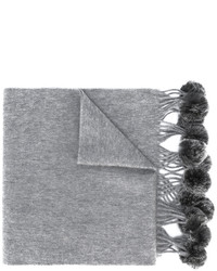 N.Peal Fur Bobble Woven Scarf
