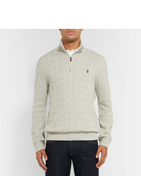 ... Polo Ralph Lauren Cable Knit Silk Half Zip Sweater