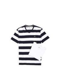 Horizontal striped v neck t shirt original 384932