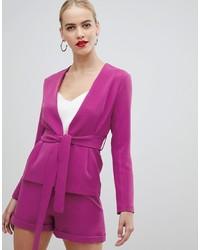 Vesper Tie Front Tailored Blazer In Pink