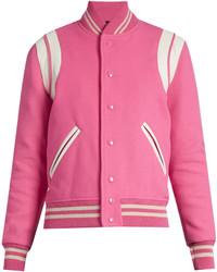 Saint Laurent Bi Colour Wool Blend Bomber Jacket