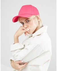 Asos Plain Baseball Cap With New Fit In Bright Pink
