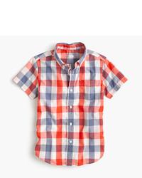 J.Crew Kids Short Sleeve Secret Wash Shirt In Blue Check
