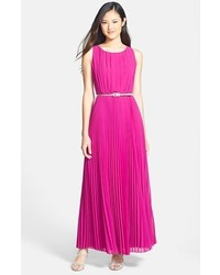 Hot Pink Chiffon Maxi Dress