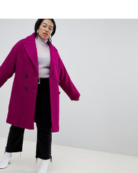 Asos Curve Asos Design Curve Double Breasted Coat In Texture