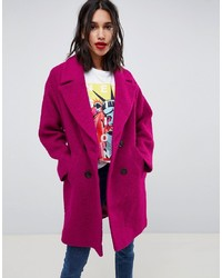 ASOS DESIGN Double Breasted Coat In Texture