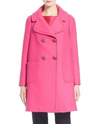 Kate Spade New York Jeweled Button Wool Car Coat