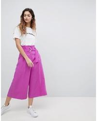 ASOS DESIGN Asos Tailored D Ring Culottes In Purple