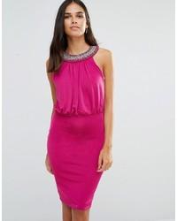 Hot Pink Embellished Sheath Dress