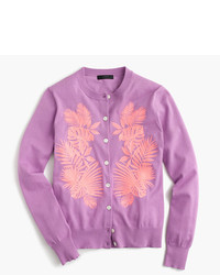 J.Crew Cotton Jackie Cardigan Sweater In Embroidered Palm