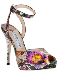Hot Pink Floral Leather Heeled Sandals