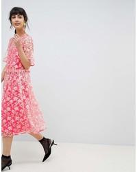 Asos Edition Asos Edition Floral Embellished Drop Waist Smock Midi Dress