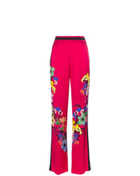 Etro High Waist Floral Print Wide Leg Trousers