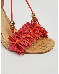 7da7aafe7ec ... Miss KG Elisa Pink Ruffle Fringed Heeled Sandals ...