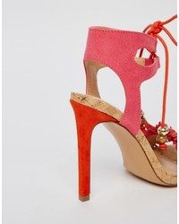 66ae6aa16d1 ... Miss KG Elisa Pink Ruffle Fringed Heeled Sandals
