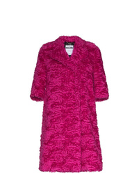 Moschino Mid Sleeve Faux Fur Mohair Blend Coat
