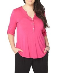 Hot Pink Henley Shirt