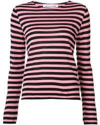 Hot Pink Horizontal Striped Crew-neck Sweater