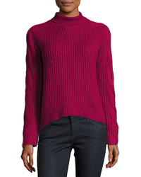 Hot Pink Knit Turtleneck
