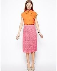 Hot Pink Lace Midi Skirt