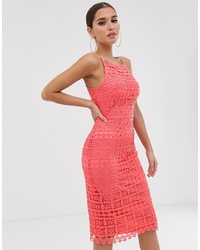 Club L London Club L Square Neck Lace Dress With Cut Out Back