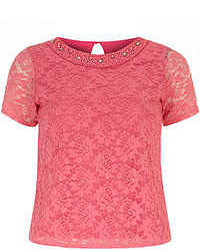 Hot Pink Lace Short Sleeve Blouse