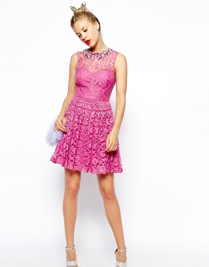 ... Asos Collection Beaded Collar Lace Skater Dress ... 99ede612a